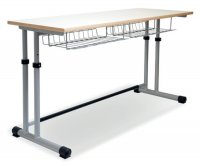 CC1108 Two-seater School Desk - Adjustable Top and  Two-pillar
