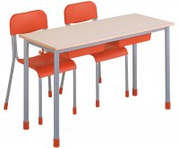 CC1144 Two-seater School Desk with Plastic Undertop