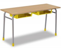 CC1683 Two-seater school desk with plastic undertop