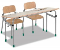 CC1651 Two-seater school desk - Inclinable floor